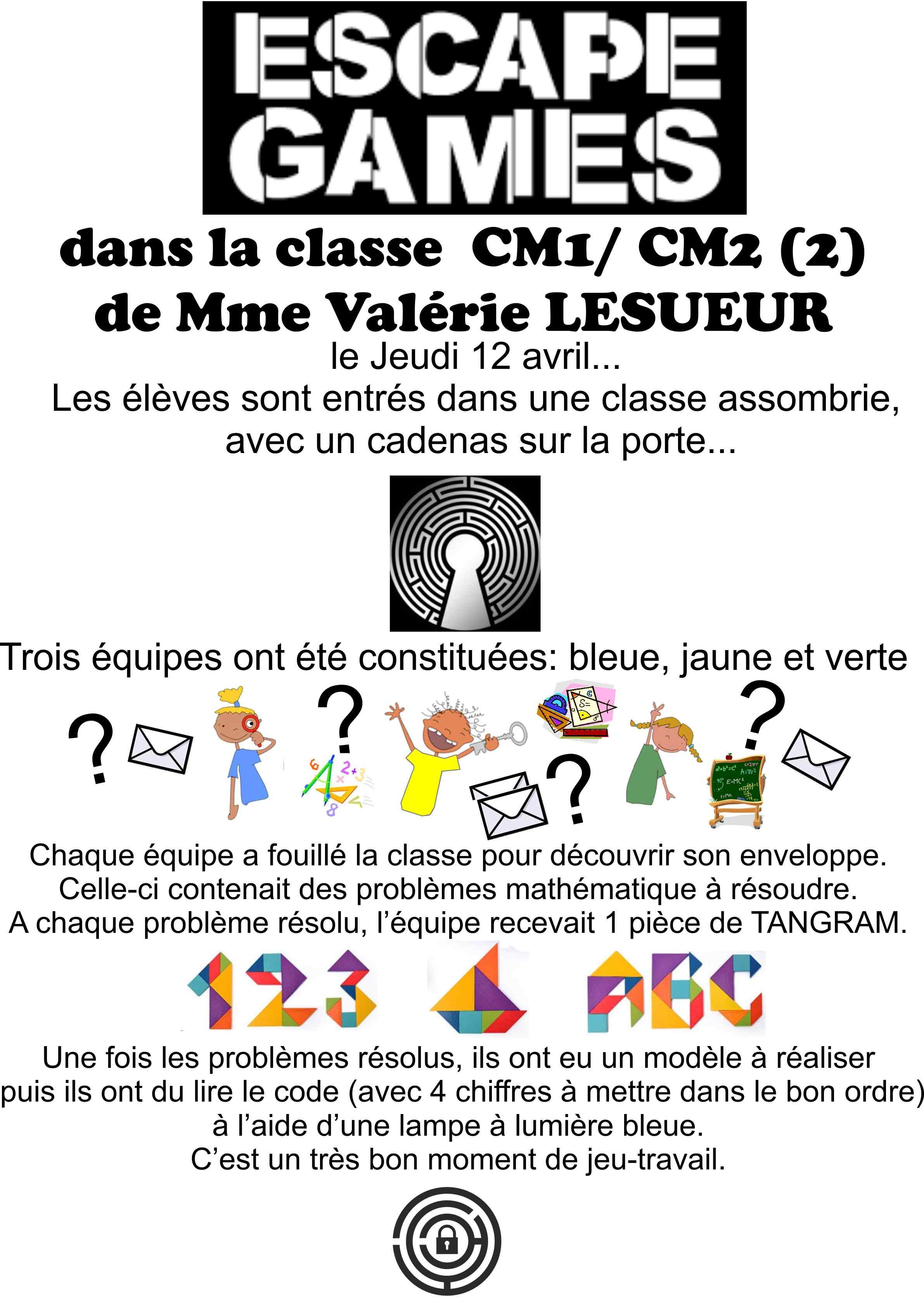 Escape Game En Cm1 Cm2 2 Avec Mme Valérie Lesueur Ecole